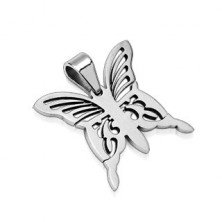 Surgical steel butterfly pendant - silver colour