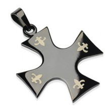 Stainless steel pendant - cross of black colour, Fleur de Lis