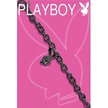 Black PLAYBOY bracelet with 3D Bunny