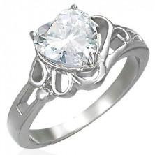 Lady's shiny steel ring, big clear zircon heart