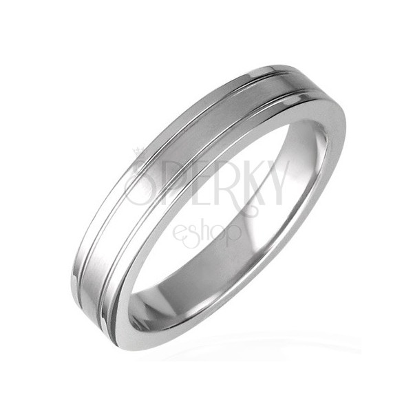 Steel ring with two engraved lines