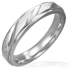 Matt steel ring with shiny cuts for women