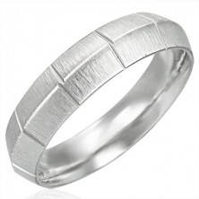 Matt steel ring for women with vertical cuts, rounded