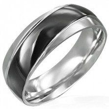 Stainless steel ring with wide black stripe