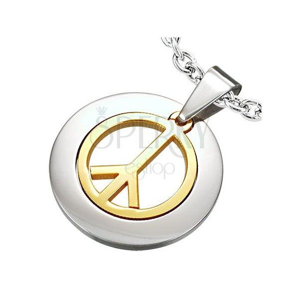 Pendant made of surgical steel with peace sign in gold colour