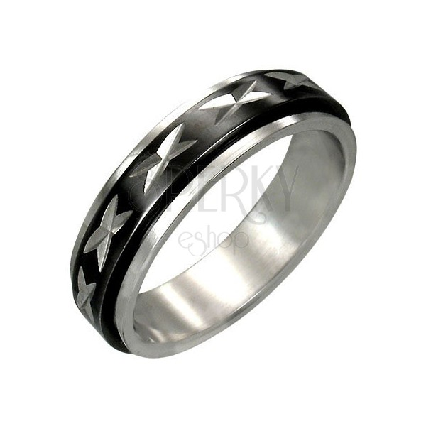 Spinner stainless steel ring with black middle part