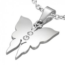 Small steel pendant - butterfly with two zircons