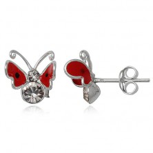 Earrings made of sterling silver 925 - red butterfly