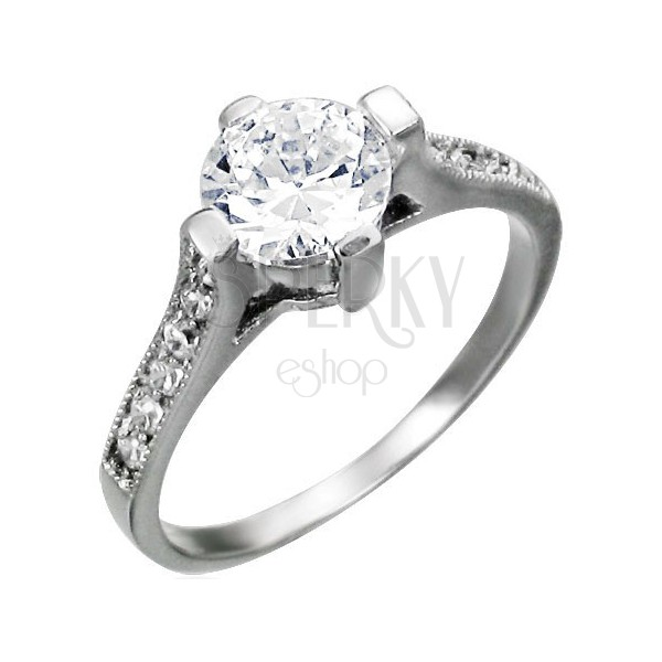 Engagement ring made of surgical steel, big round zircon, zircon lines on shoulders