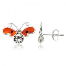 Silver stud earrings 925 - flat orange butterfly, zircons