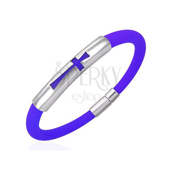Round blue silicone bracelet with steel tag - cross