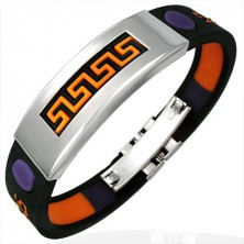 Rubber bracelet with Aztec pattern in orange and violet colour