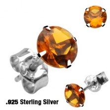 Sterling silver stud earrings 925 - round, available in various colours