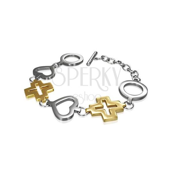 Steel bracelet - circle, heart and golden cross