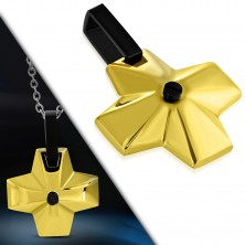 Steel pendant - wide cross in gold colour with black eye in the middle