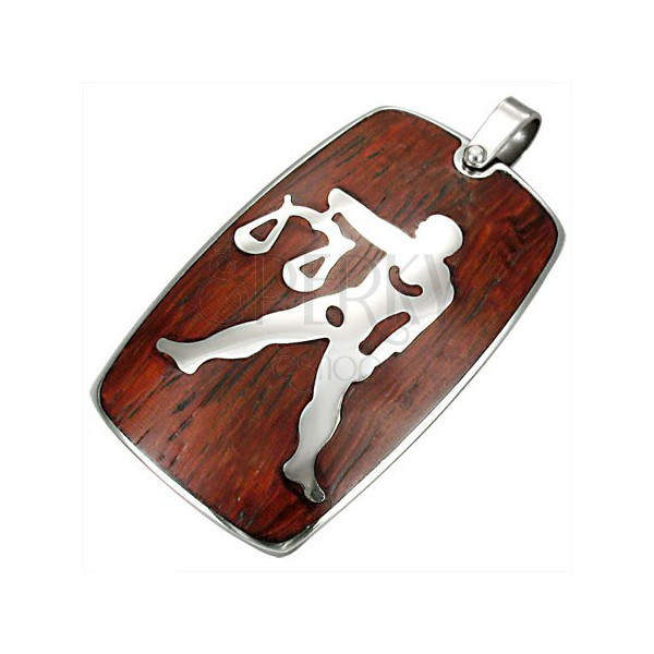 Steel pendant with wooden background - Libra Zodiac sign