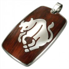 Steel pendant with wooden backgrond - Zodiac sign Taurus