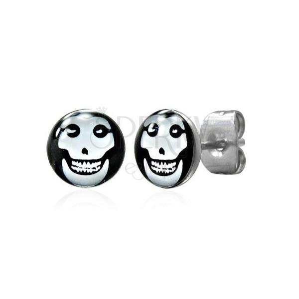 Steel earrings, white skull in black circle, glaze
