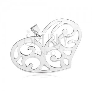 Stainless steel pendant - large filigree heart