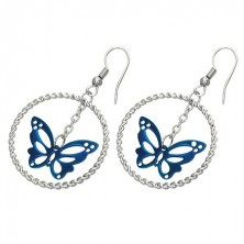 Steel earrings in silver colour, blue butterfly in circle, hooks