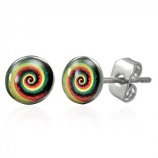 Earrings made of surgical steel with coloured spiral, studs