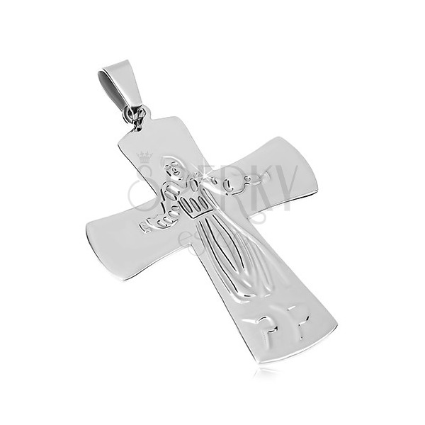 Pendant made of surgical steel, Jesus on cross, silver colour