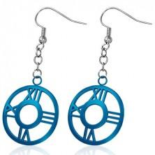 Steel earrings - dark blue circle with Roman numerals