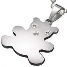 Pendant made of stainless steel in silver colour, bear with zircons