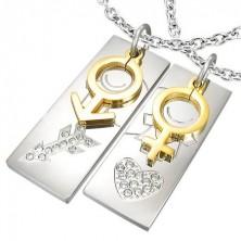 Surgical steel couple pendants with heart and arrow, zircons
