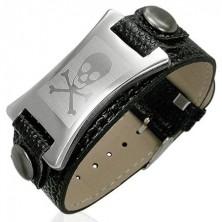 Imitation leather bracelet with steel tag - skull