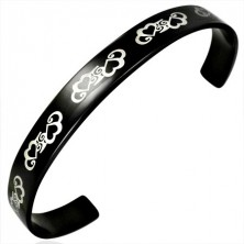 Black cuff surgical steel bracelet with hearts