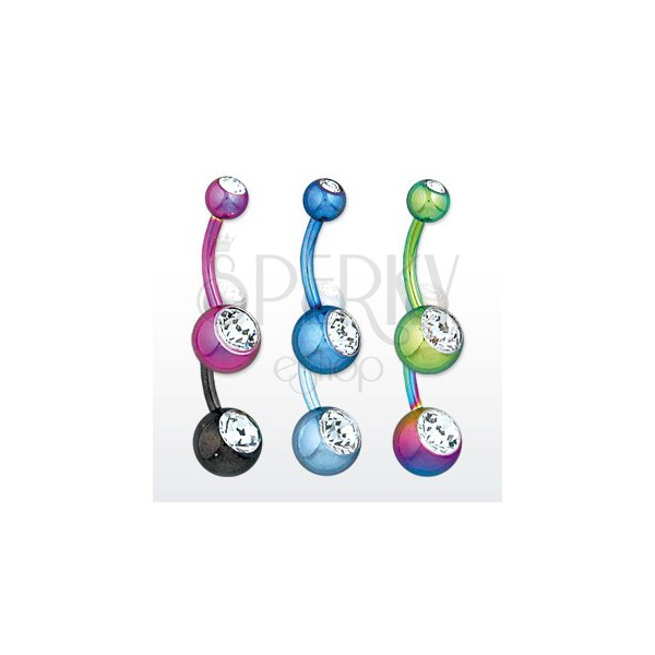 Steel belly piercing - balls with glittery zircons, various colours, length 11 mm