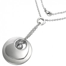 Surgical steel set of chainlet and pendants - disc, heart, and zircon in ring