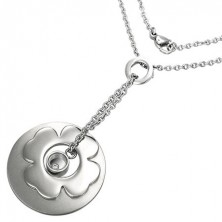 Surgical steel necklace - flower, disc, and ring pendants with zircon