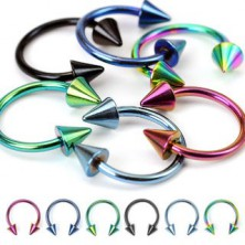 Anodized titanium spike horseshoe ring