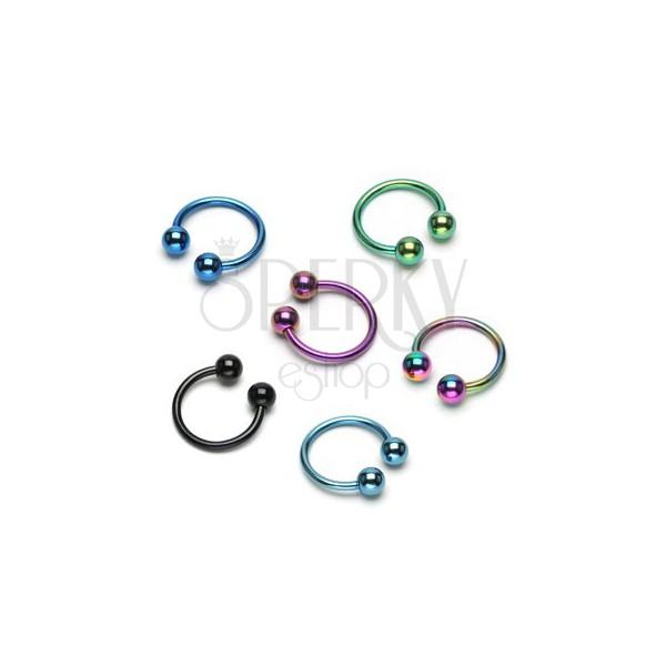 Anodized titanium ball horseshoe ring