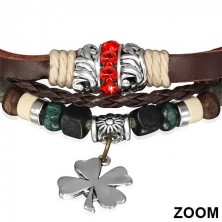Leather bracelet - braided strings, red zircon ring, four-leaf